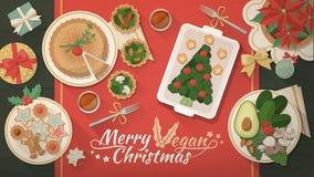 Jantar do vegetariano do Natal ilustração do vetor