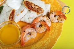 Jantar dos Fajitas com camarão Fotos de Stock