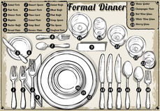Jantar formal tirado mão do ajuste de lugar do vintage ilustração royalty free
