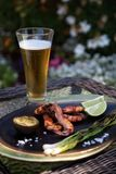 Jantar grelhado todo dos camarões no jardim Fotos de Stock Royalty Free