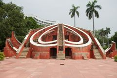 Jantar Mantar astronomy observatory in New Delhi. In India stock photography