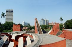 Jantar Mantar panorama - one of 5 medieval observatories,India royalty free stock images