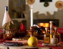 Jantar na casa rural Imagens de Stock