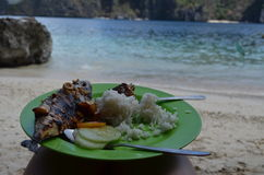 Jantar na praia Fotografia de Stock Royalty Free