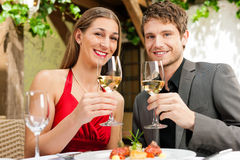 Jantar ou almoço no restaurante Fotografia de Stock Royalty Free