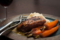 Jantar Roasted do peito de pato Fotos de Stock