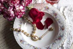 Jantar romântico com amor Fotos de Stock Royalty Free