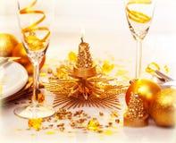 Jantar romântico do Natal Imagens de Stock