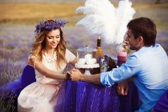 Jantar romântico dos amantes em um campo da alfazema Foto de Stock Royalty Free