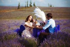 Jantar romântico dos amantes em um campo da alfazema Fotografia de Stock Royalty Free