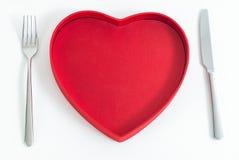 Jantar vermelho do coração Fotos de Stock