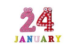 24. Januar auf weißem Hintergrund, Zahlen und Buchstaben Stockfotografie
