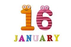 16. Januar auf weißem Hintergrund, Zahlen und Buchstaben Lizenzfreie Stockbilder