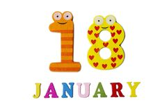 18. Januar auf weißem Hintergrund, Zahlen und Buchstaben Lizenzfreies Stockfoto
