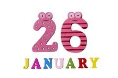 26. Januar auf weißem Hintergrund, Zahlen und Buchstaben Lizenzfreie Stockbilder