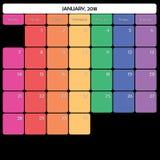 Januar 2018 des großen spezifische Wochentage Anmerkungsraumes des Planers Farb Lizenzfreies Stockbild