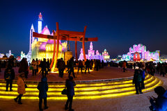 Januar 2015 - Harbin, China - internationales Eis und Schnee-Festival Lizenzfreie Stockbilder