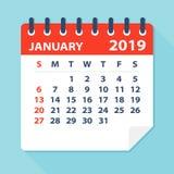 Januar 2019 Kalender-Blatt - Vektor-Illustration lizenzfreie abbildung