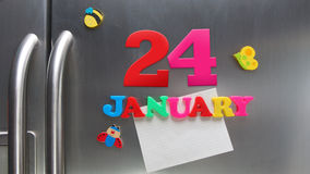 24. Januar Kalendertag gemacht mit magnetischen Plastikbuchstaben Lizenzfreies Stockbild