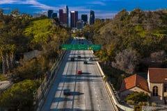 20. JANUAR 2019 LOS ANGELES, CA, USA - Pasadena-Autobahn Allee) (Arroyo Seco CA 110 führt zu im Stadtzentrum gelegenes Los Angele lizenzfreie stockfotos