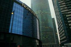 11. Januar 2018 Moskau, Russland, Ansicht des Türme ` Vereinigung ` und der ` Stadt von Hauptstädte ` des Geschäftszentrum ` Mosk Stockfotos