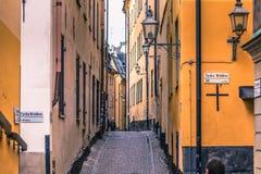 21. Januar 2017: Straßen der alten Stadt von Stockholm, Schweden Lizenzfreie Stockbilder