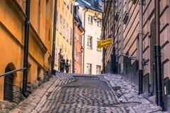 21. Januar 2017: Straßen der alten Stadt von Stockholm, Schweden Stockfotos