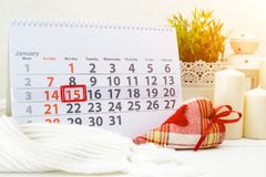 15. Januar Tag 15 des Monats auf weißem Kalender Internationales W Lizenzfreie Stockbilder