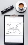 Januar-Unternehmensplan mit dem Diagramm von Hand gezeichnet auf Draufsicht des grauen Tabellenhintergrundes Lizenzfreie Stockbilder