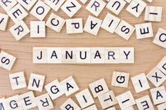 Januar-Wörter mit Holzklötzen Lizenzfreies Stockbild