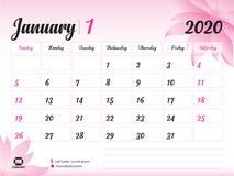Januari 2020 årsmall, kalender2020 vektor, design för skrivbordkalender, rosa blommabegrepp för skönhetsmedel, skönhet, brunnsort royaltyfri illustrationer