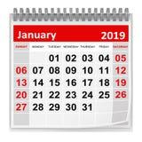 Januari 2019 royalty-vrije illustratie