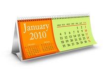 Januari 2010 de Kalender van de Desktop Royalty-vrije Stock Afbeelding