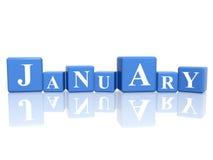 Januari in 3d kubussen Royalty-vrije Stock Foto's