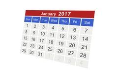 Januari 2017 vektor illustrationer