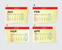 Januari aan April Calendar 2014 Stock Afbeelding