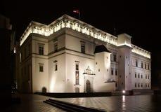 Januari afton och slotten av litauiska linjaler Arkivfoto