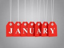 Januari befordringar vektor illustrationer
