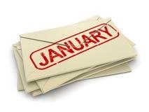 Januari bokstäver (den inklusive snabba banan) Royaltyfria Foton