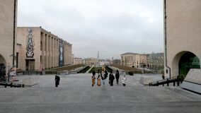 Timelapse of people walking on Mont Des Arts in Brussels