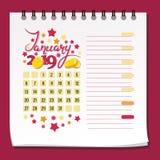 Januari 2019 coins dollareuroguld Kalender 2019 för månaden av Januari vektor illustrationer