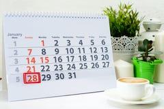 28 januari Dag 28 van maand Royalty-vrije Stock Afbeeldingen