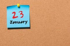23 januari Dag 23 van maand, Kalender op cork berichtraad Bloem in de sneeuw Lege ruimte voor tekst De idylle van de zomer Stock Afbeeldingen