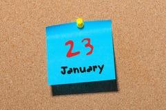 23 januari Dag 23 van maand, Kalender op cork berichtraad Bloem in de sneeuw Lege ruimte voor tekst De idylle van de zomer Stock Foto