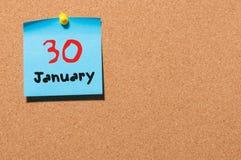 30 januari Dag 30 van maand, Kalender op cork berichtraad Nieuw jaar bij het werkconcept Bloem in de sneeuw Lege Ruimte voor Royalty-vrije Stock Fotografie