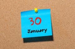 30 januari Dag 30 van maand, Kalender op cork berichtraad Nieuw jaar bij het werkconcept Bloem in de sneeuw Lege Ruimte voor Royalty-vrije Stock Afbeelding