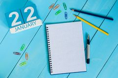 22 januari Dag 22 van maand, kalender op de financiële achtergrond van de adviseurswerkplaats Het concept van de winter Lege ruim Royalty-vrije Stock Afbeelding