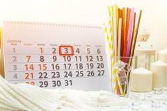 3 januari Dag 3 van maand op witte kalender Royalty-vrije Stock Foto's