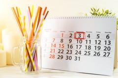 3 januari Dag 3 van maand op witte kalender Royalty-vrije Stock Afbeeldingen