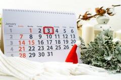 3 januari Dag 3 van maand op witte kalender Stock Fotografie
